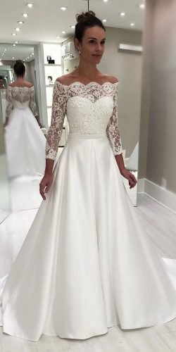 off the shoulder wedding dresses a line with three quote sleeves isabellanarch