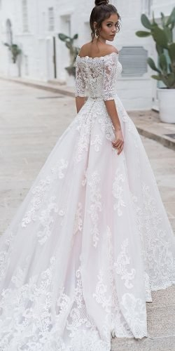 off the shoulder wedding dresses ball gown with sleeves full lace navibluebridal