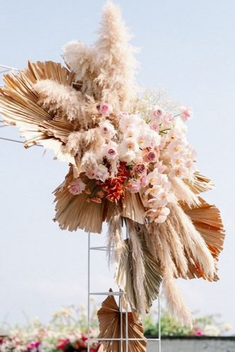pampas grass wedding decor with florals