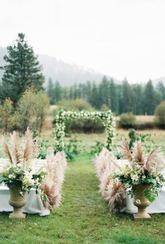pampas grass wedding outdoor ceremony de4cor Rebecca Holls Photography