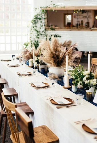 pampas grass wedding table decor centerpiece joelleelizabethphoto