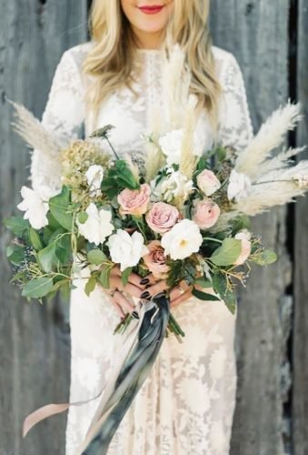 pampas grass wedding wedding bouquet Taralynn Lawton
