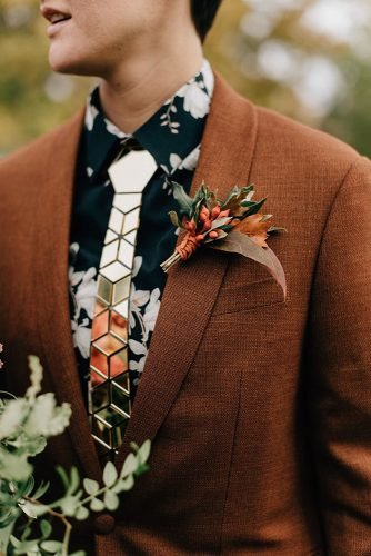 rustic groom attire brown jacket with boutonniere flower tie sara monika