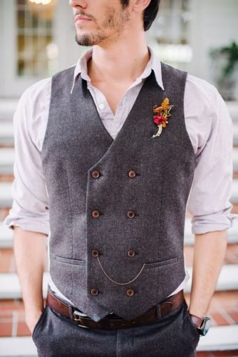rustic groom attire vest with boutonnieres best photography