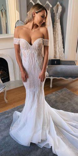 sexy wedding dresses ideas mermaid off the shoulder sweetheart neckline sequins with train pallascouture