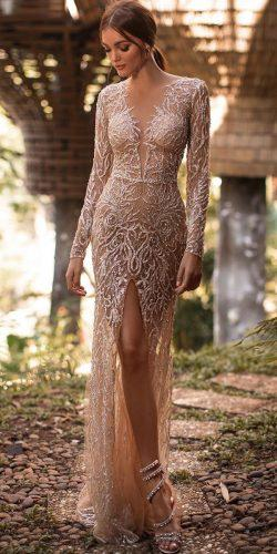 sexy wedding dresses ideas plunging neckline with long sleeves sequins slit millanova