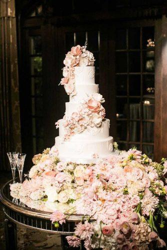 simple elegant chic wedding cakes big floral cake Samuel Lippke Studios