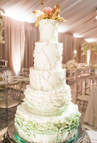 simple elegant chic wedding cakes big rufler cake Samuel Lippke Studios