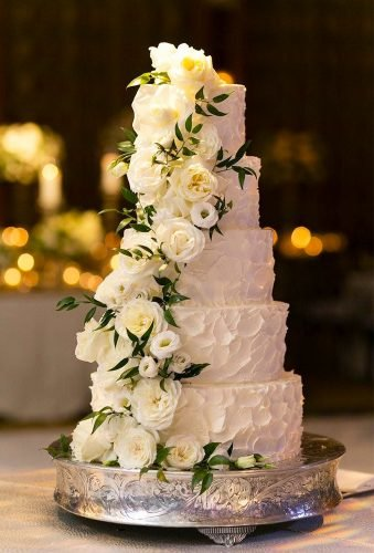 simple elegant chic wedding cakes cake with flower cascade Emilia Jane Photography