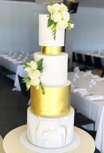 simple elegant chic wedding cakes cake with gold cremedelacakess