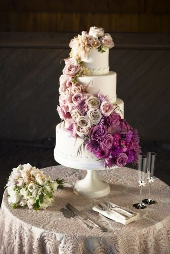 simple elegant chic wedding cakes chic floral cake Catherine Hall Studios
