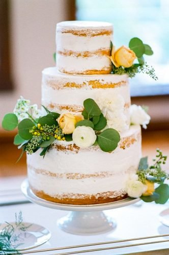 simple elegant chic wedding cakes white naked cake Tamara Gruner Photography