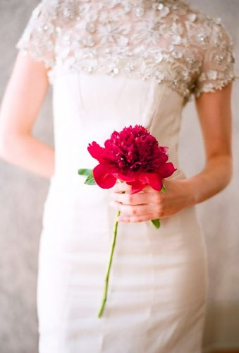 single stem wedding bouquets red peony Elizabeth Messina Photography