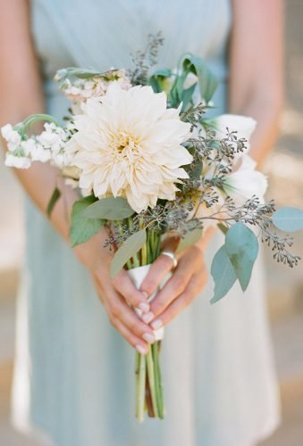 single stem wedding bouquets single dahlia and greenery joshgruetzmacher