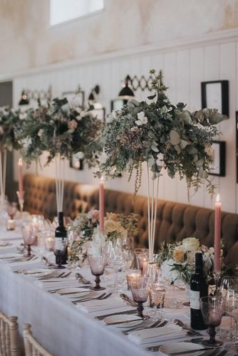 tall wedding centerpieces bohemian reception greenery décor with pink candles sarah jane