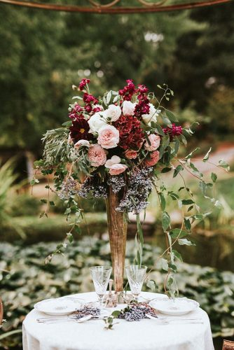 tall wedding centerpieces gold vase with burgundy flowers with love by georgie