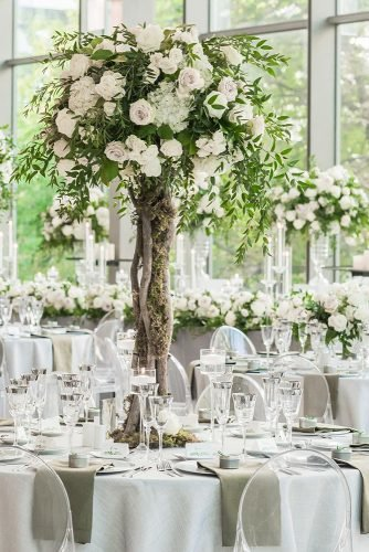 tall wedding centerpieces greenery and white roses tree astin hwang via instagram