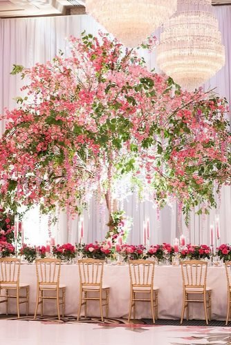 tall wedding centerpieces pink tree flower tablerunner 5ive15ifteen