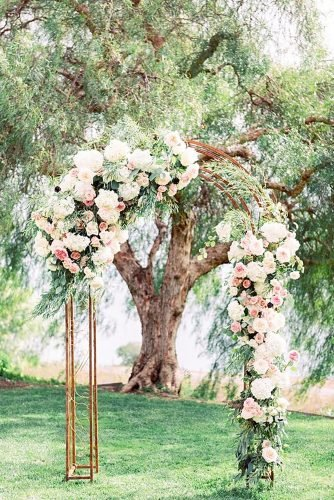 wedding arch decoration ideas peach floral arch Jana Williams