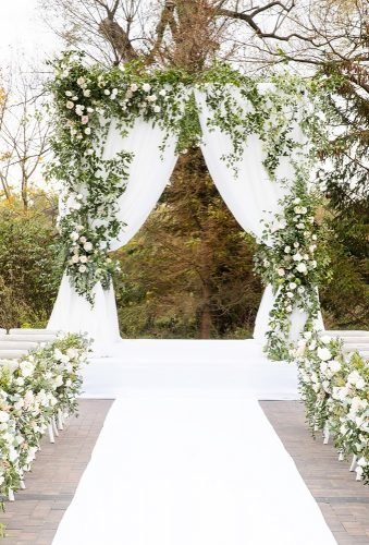 wedding arch decoration ideas white wedding aisle rachelaclingen