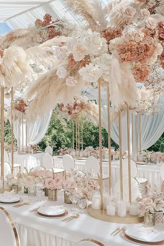 wedding centerpieces tall boho blush centerpiece