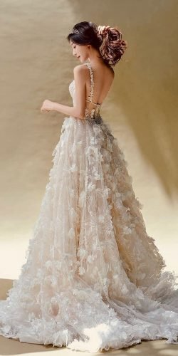 wedding dress designers a line backless with straps 3d floral galia lahav