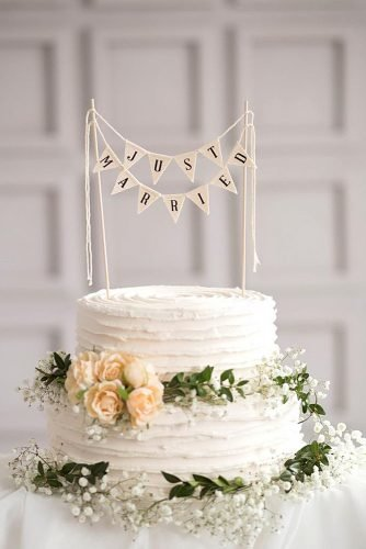 wedding ideas just married banner cake topper