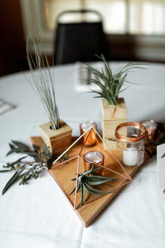 wedding ideas minimalist geometry centerpiece with succulents lindsey baker photography