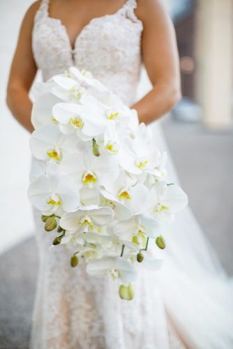 white wedding bouquets inspiration cascading orchids Koby Brown Photography