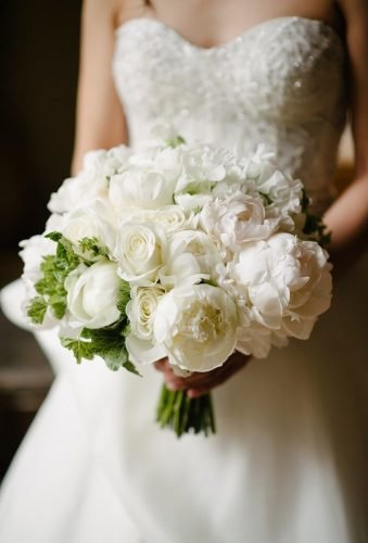 white wedding bouquets inspiration whiteflowers green accent Brian Hatton Photography