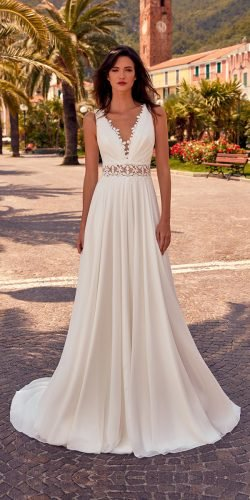 a line wedding dresses simple v neckline for beach nicolespose