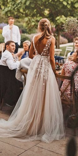 a line wedding dresses v back floral appliques blush liz martinez