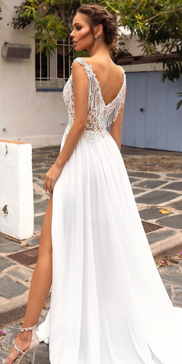 backless wedding dresses a line lace top for beach tinavalerdi