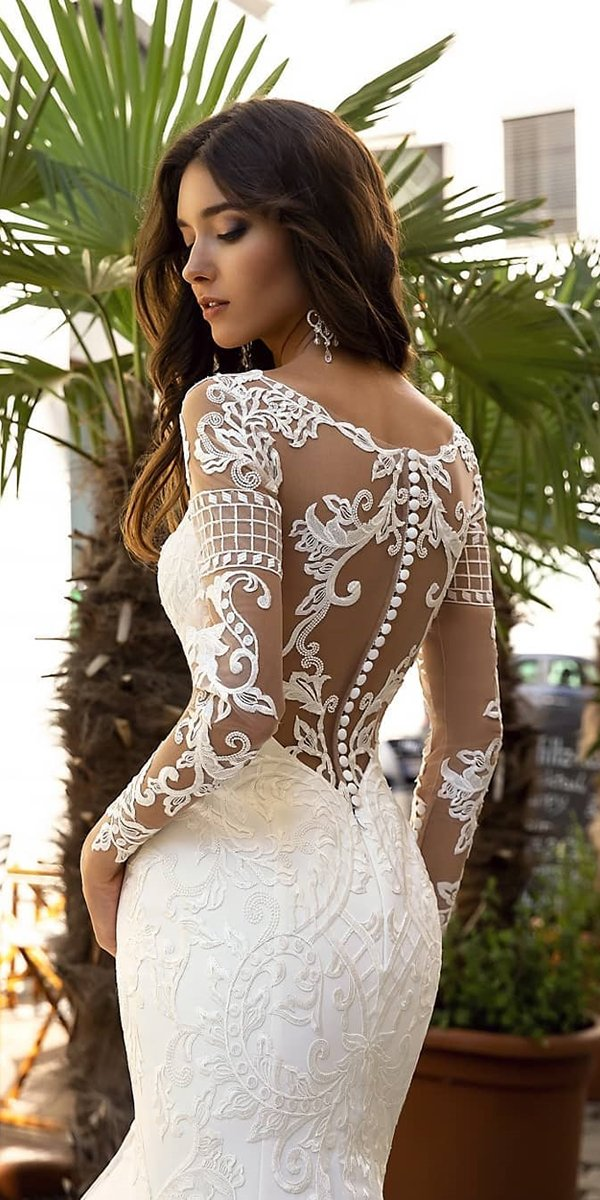 backless wedding dresses with long sleeves lace with buttons oksana mukha