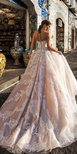 ball gown wedding dresses illusion back lace train blush navibluebridal