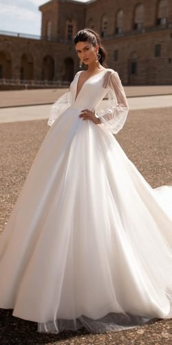 ball gown wedding dresses simple with long sleeves deep v neckline millanova