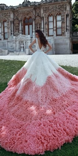 ball gown wedding dresses v back with train color skirt said mhamad