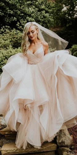 ball gown wedding dresses with spaghetti straps blush ruffled skirt misshayleypaige