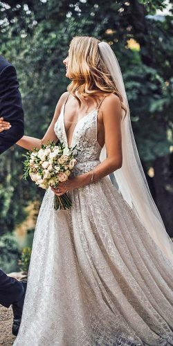 beach wedding dresses a line with spaghetti straps plunging neckline tali photo