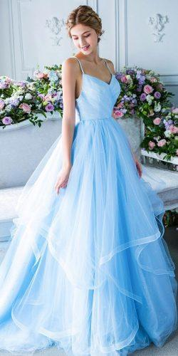 blue wedding dresses ball gown simple with spaghetti straps tulle skirt digiobridal