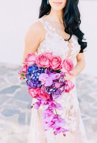 bridal bouquet shapes puple cascade bouquet Elias Kordelakos