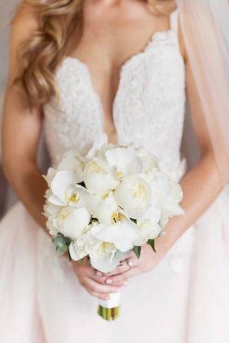 bridal bouquet shapes white round bouquet Craig and Eva Sanders Photography