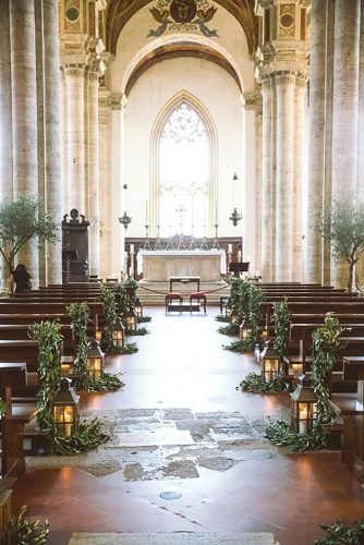 church wedding decorations lantern in aisle Les Amis Photography
