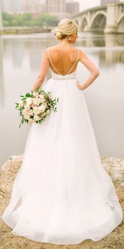 country style wedding dresses a line simple low back with straps mikaellabridal