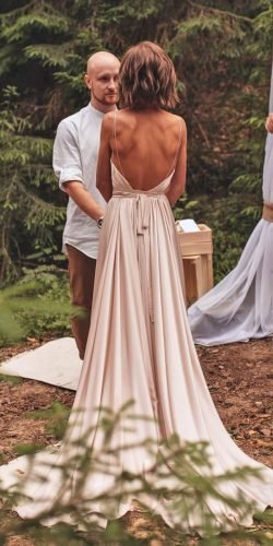 country style wedding dresses a line with spaghetti straps backless blush alenakeybal photo