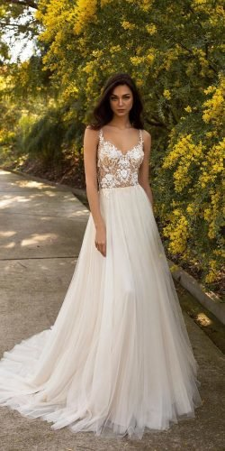 country style wedding dresses a line with straps lace top pronovias