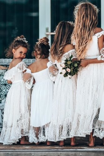 flower girl dresses boho rustic lae off the shoulder teaprincessaust