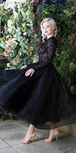 gothic wedding dresses tea length with long sleeves lace leah da gloria