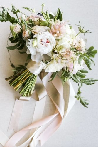 green wedding florals bouquet with ribbon Jasmine Lee Photography