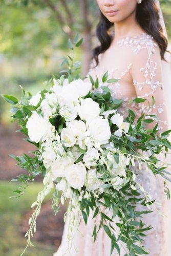 green wedding florals cascading white green bouquet Sophie Kaye Photography